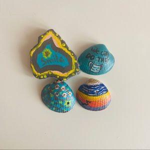 Set of 4 inspirational lucky seashells/rocks